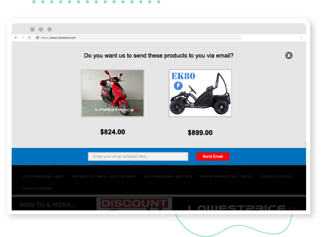 give shoppers an alternative to cart abandonment with send my cart image