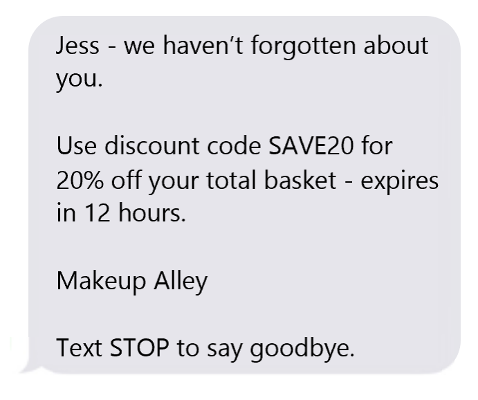 abandoned cart sms example